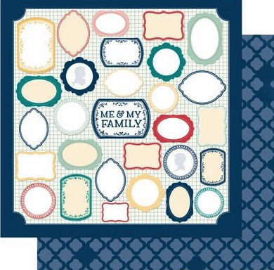 Me and My Family Frames Double Sided 12x12 Scrapbooking Paper