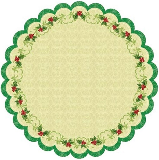 Christmas Holly 12x12 Die Cut Glittered Scrapbooking Cardstock