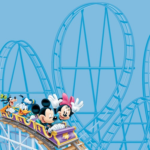 Mickey and Minnie Roller Coaster 12x12 Scrapbooking Paper