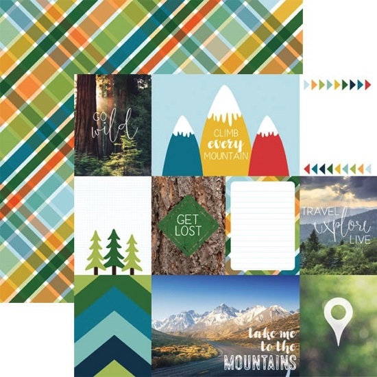 Mountain Tags Double Sided 12x12 Scrapbooking Paper
