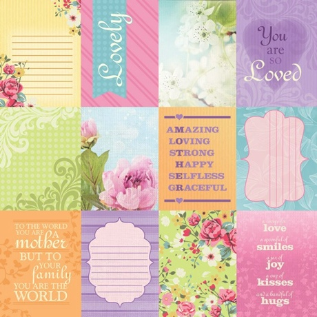 Mum Tags 12x12 Scrapbooking Paper