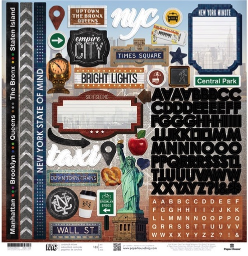New York 12x12 Cardstock Scrapbooking Stickers and Alphabets
