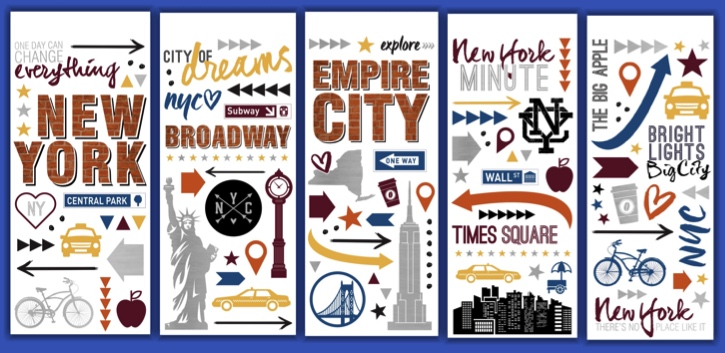 New York Clear Scrapbooking Stickers - 5 Sheets