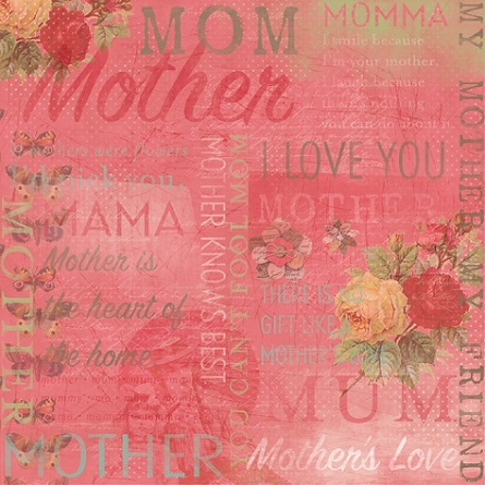 Number One Mum Collage 12x12 Scrapbooking Paper