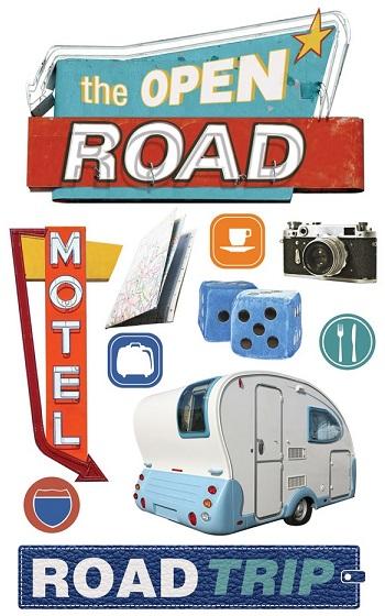 Open Road 3D Scrapbooking Stickers