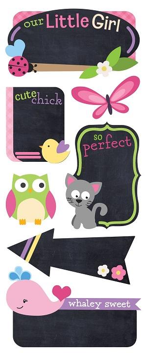 Little Girl Chalkboard Scrapbooking Stickers