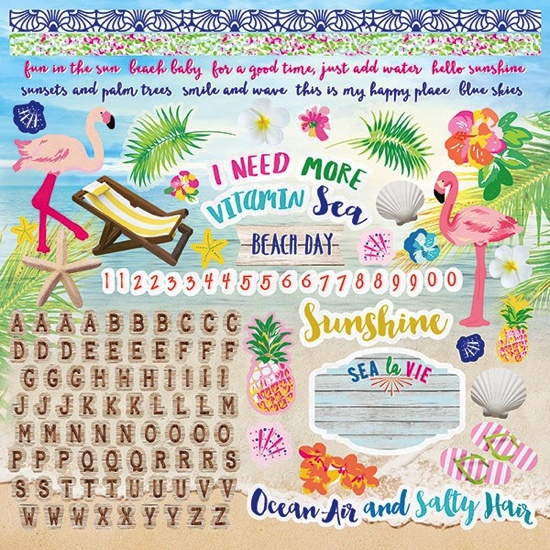 Paradise Found 12x12 Cardstock Scrapbooking Stickers and Alphabet