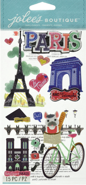 Paris Jolees 3D Large Scrapbooking Stickers