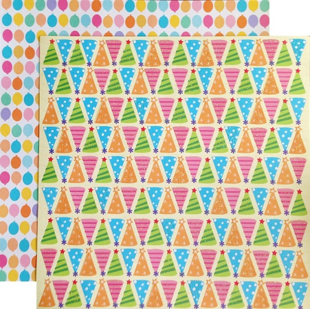 Party Hats 12x12 Double Sided Glittered Scrapbooking Cardstock