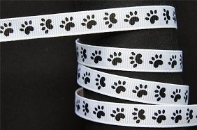 Paw Prints Self Adhesive Scrapbooking Ribbon - White