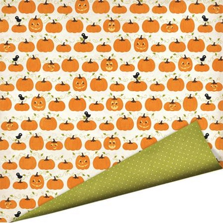 Pumpkin Patch 12x12 Double Sided Scrapbooking Cardstock with Varnish