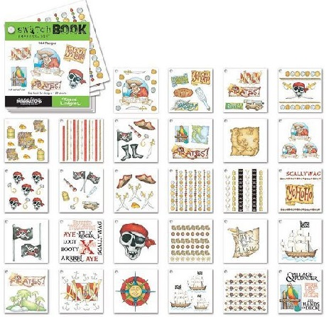 Pirate Scrapbooking Swatchbook Rub ons - 28 Sheets, 144 designs