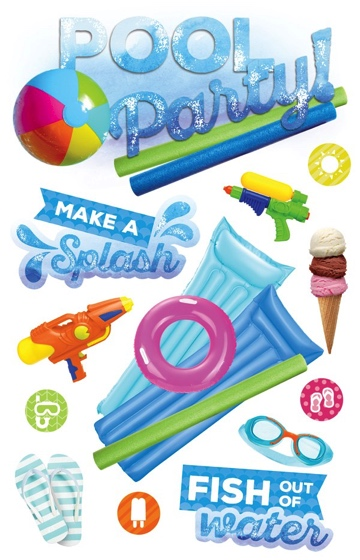 Pool Party 3D Scrapbooking Stickers
