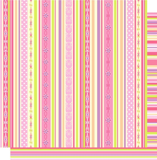 Princess Pink Stripes 12x12 Double Sided Glittered Scrapbooking Cardstock
