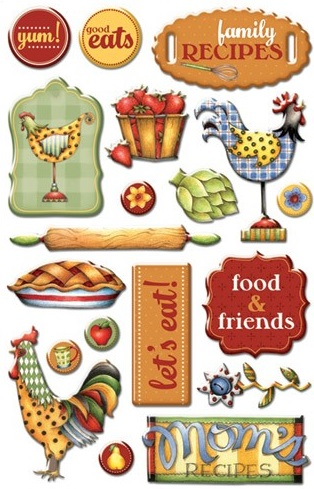 Food and friends scrapbooking stickers for Scrapbooking cuisine