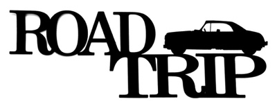 Road Trip Scrapbooking Laser Cut Title with Car