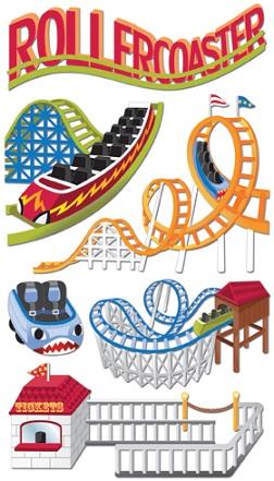 Roller Coasters Jolees 3D Large Scrapbooking Stickers