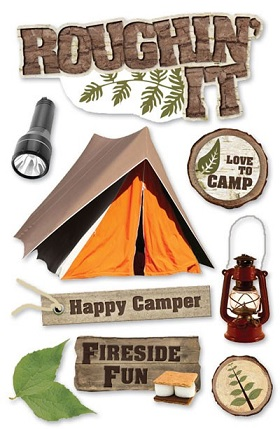Roughing It Camping 3D Scrapbooking Glitter Stickers