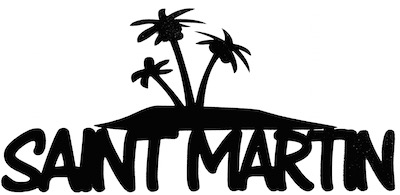 Saint Martin Scrapbooking Laser Cut Title with Palm Trees
