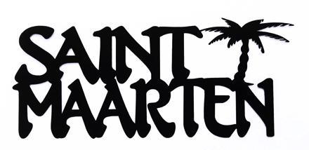 Saint Maarten Scrapbooking Laser Cut Title With Palm Tree
