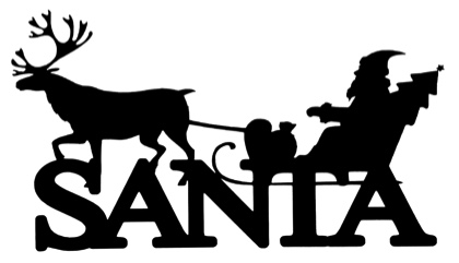 Santa Scrapbooking Laser Cut Title with Sleigh