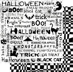 Scary Words 12x12 Double Sided Glittered Scrapbooking Cardstock