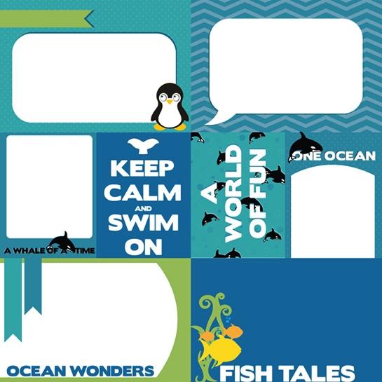 Sea World 12x12 Scrapbooking Journaling Paper