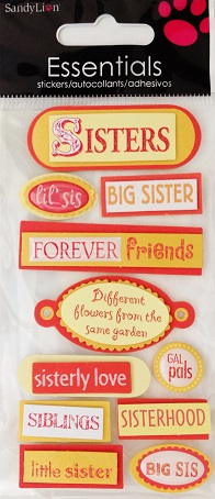 Sisters 3D Handmade Essentials Scrapbooking Stickers