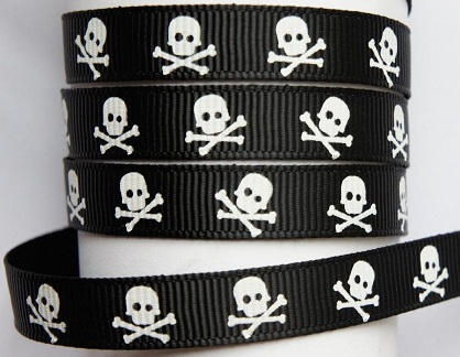 Skull and Crossbones Pirate Self Adhesive Scrapbooking Ribbon Black