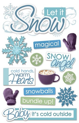Snow 3D Glitter Scrapbooking Stickers