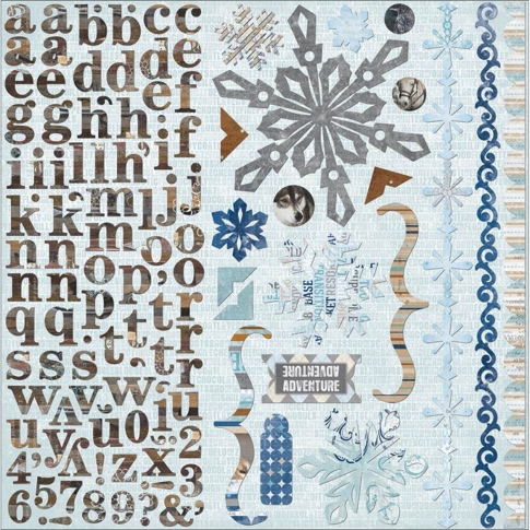 Whiteout Snow Adventure 12x12 Cardstock Scrapbooking Stickers and Alphabet