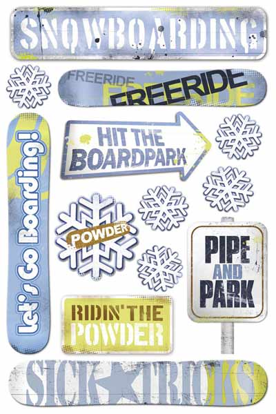 Snowboarding Cardstock Scrapbooking Stickers