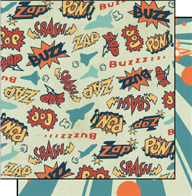 Pow! 12x12 Double Sided Glittered Scrapbooking Cardstock