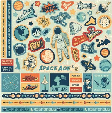 Space Age 12x12 Glittered Cardstock Scrapbooking Stickers and Borders