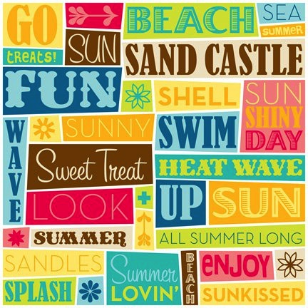 Summer Words 12x12 Scrapbooking Paper