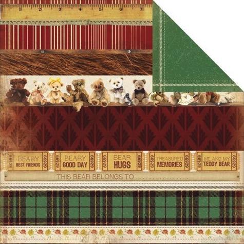 Teddy Bear Stripes 12x12 Double Sided Scrapbooking Paper