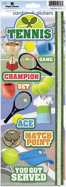 Tennis Cardstock Scrapbooking Stickers