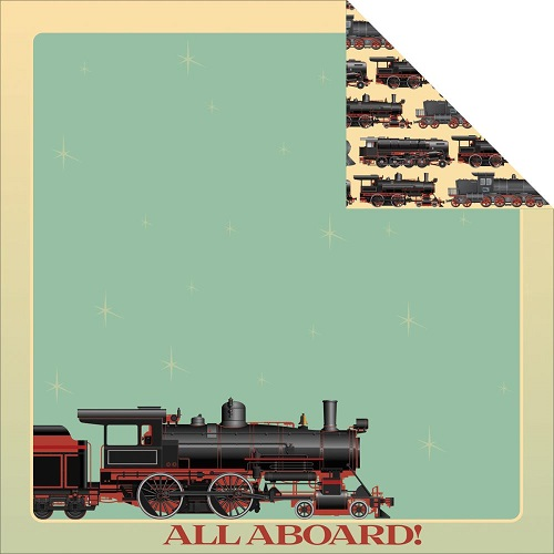 Train Double Sided 12x12 Scrapbooking Paper