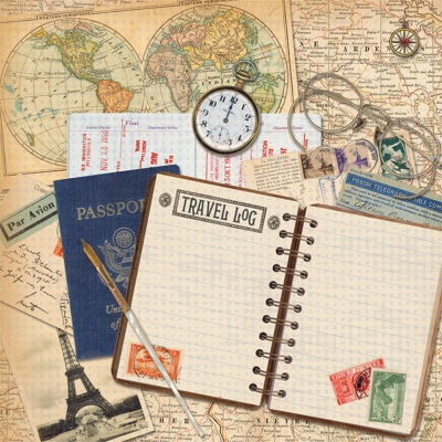 Travel Log 12x12 Scrapbooking Paper