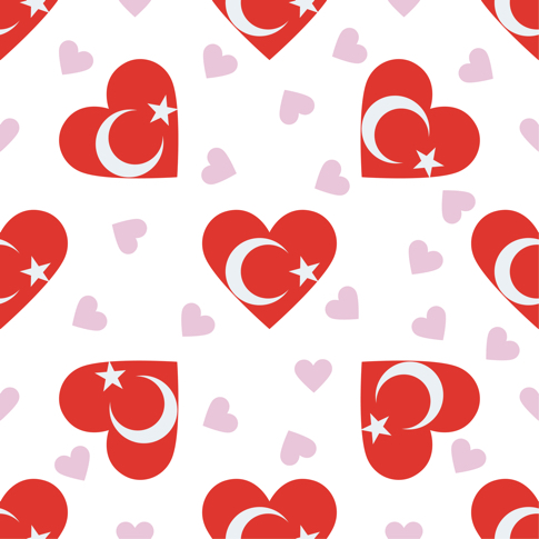 Turkey Flag Hearts 12x12 Scrapbooking Paper