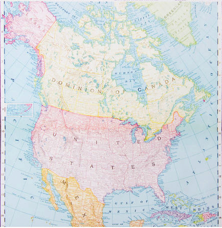 USA And Canada Map Scrapbooking Paper - Canada usa map