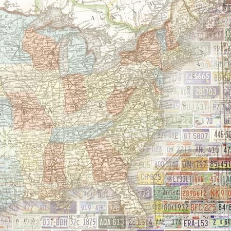 USA Map East 12x12 Scrapbooking Paper