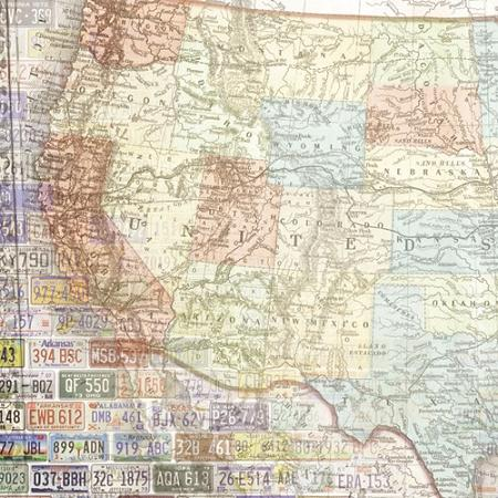 USA Map West 12x12 Scrapbooking Paper