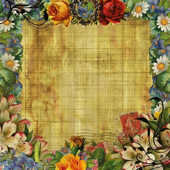 Vintage Flower Frame 12x12 Scrapbooking Paper