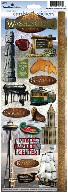 Washington State Cardstock Scrapbooking Stickers