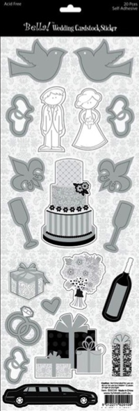 Wedding Icons Cardstock Scrapbooking Stickers with Foil