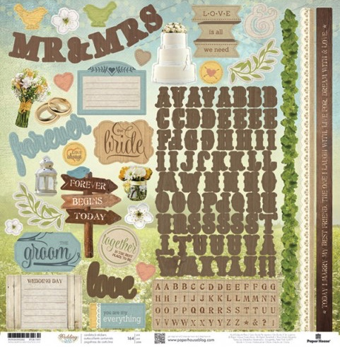 Wedding Day 12x12 Cardstock Scrapbooking Stickers and Alphabets