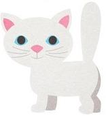 White Cat Die Cut Scrapbooking Sticker