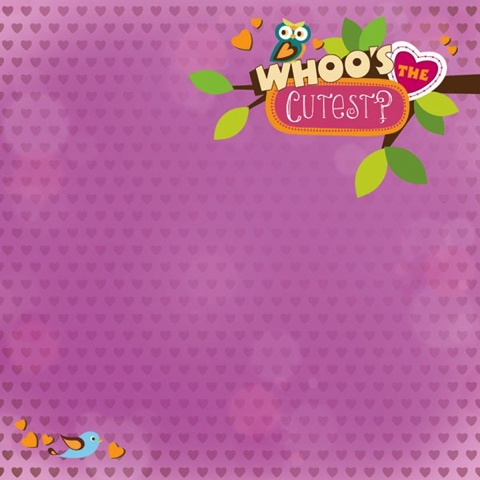 Whoo's the Cutest 12x12 Scrapbooking Paper