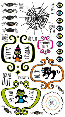 Witchy Icons Scrapbooking Rub-ons